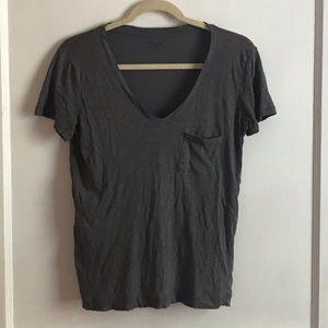 Madewell Slate Grey V-neck Cotton T-shirt